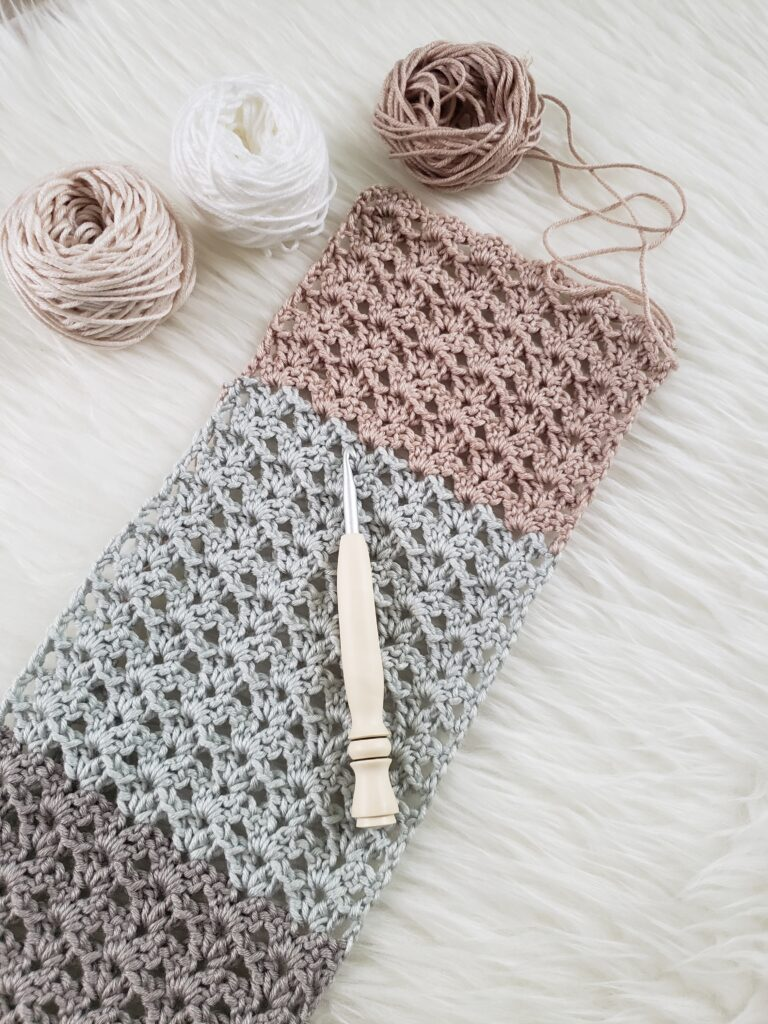 Breezy Summer Crochet Scarf by Kind of Knit made using DC stitch