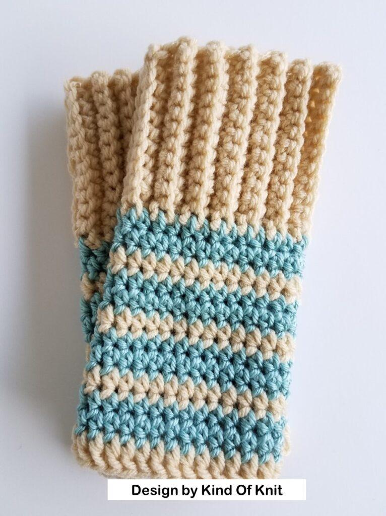 Striped Fingerless Gloves using BO stitch - Kind Of Knit