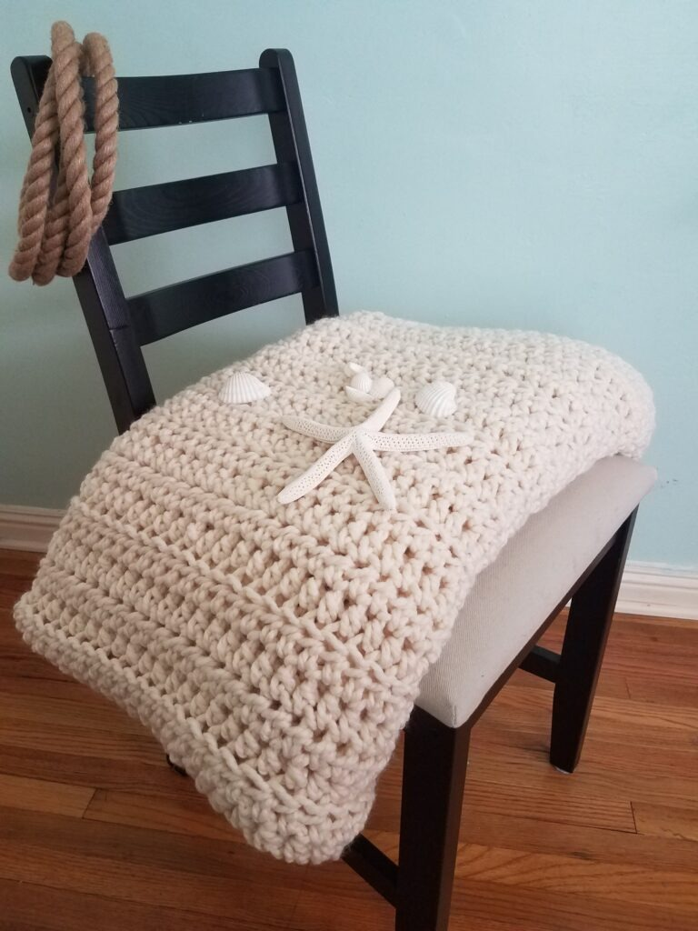 White Water Chunky Crochet Blanket pattern from Kind Of Knit