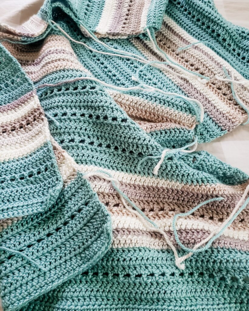 A crochet project with yarn ends not weaved in looks messy and unfinished